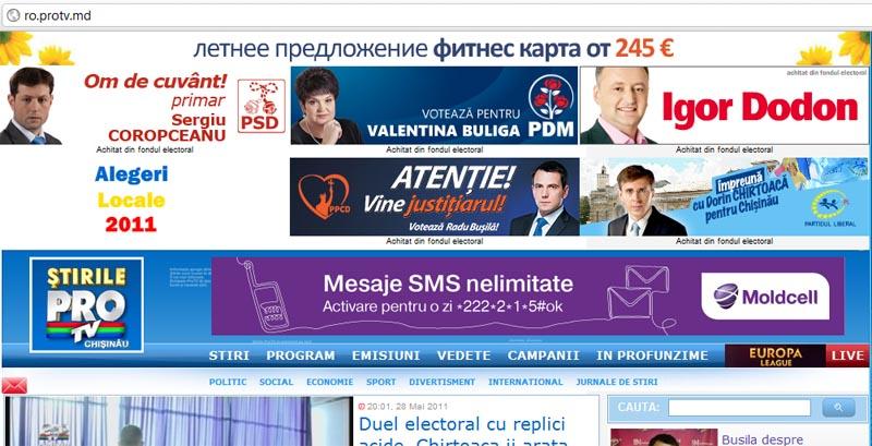 Publicitare electorala pe protv
