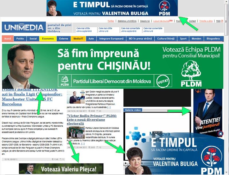 Publicitare electorala pe unimedia