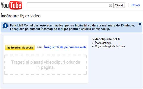 Incarca pe YouTube video cu durata mai mare de 15 minute