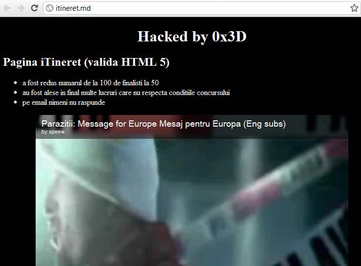 ITineret spart de hackeri 0x3D